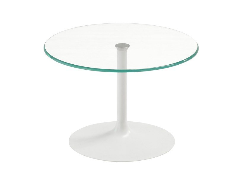 Round glass coffee table FLÛTE ROUND - SOVET ITALIA