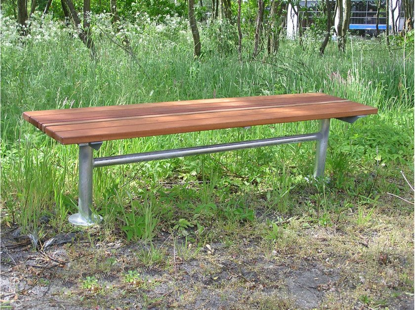 Backless steel and wood Bench CITY | Bench - Nola Industrier