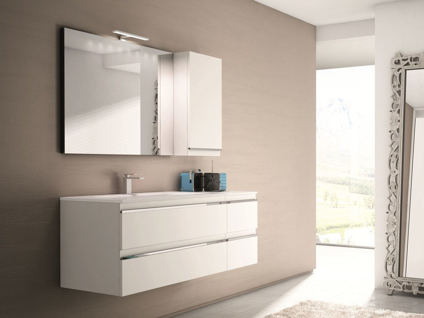 Vanity unit with drawers with mirror MISTRAL COMP 01 - IdeaGroup