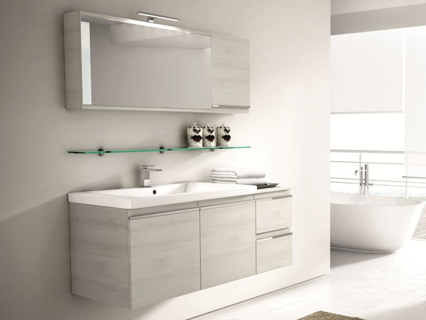 Wall-mounted vanity unit with drawers with mirror MISTRAL COMP 08 - IdeaGroup