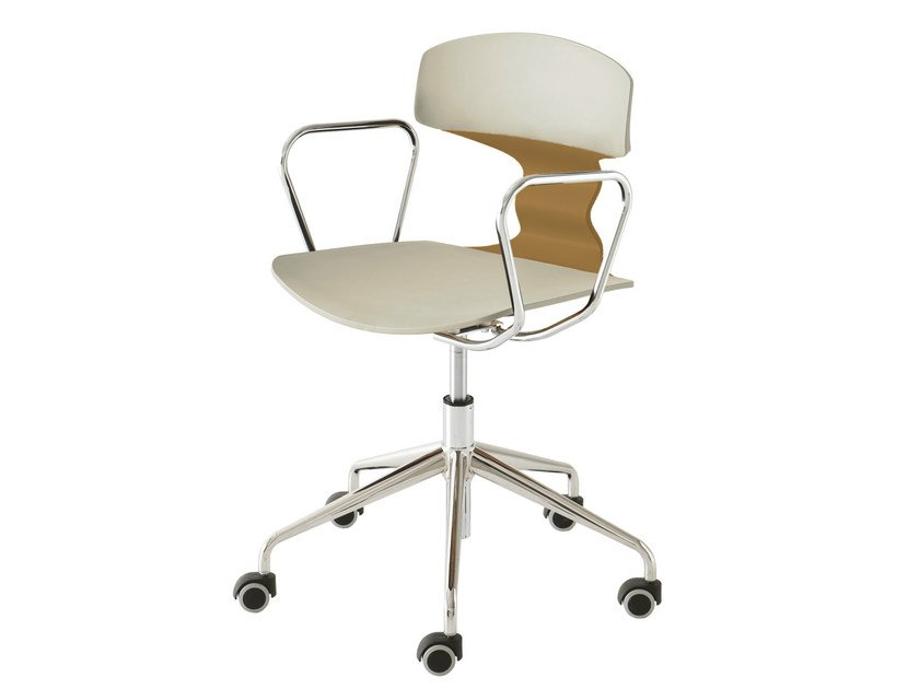 Chair with 5-spoke base with armrests with casters TOLO 5RB | Chair with 5-spoke base - GABER