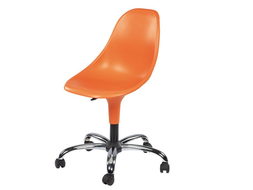 Swivel technopolymer chair with 5-spoke base with casters HARMONY BC - GABER