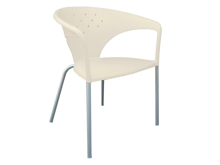 Design aluminium chair with armrests TERRASSE by GABER