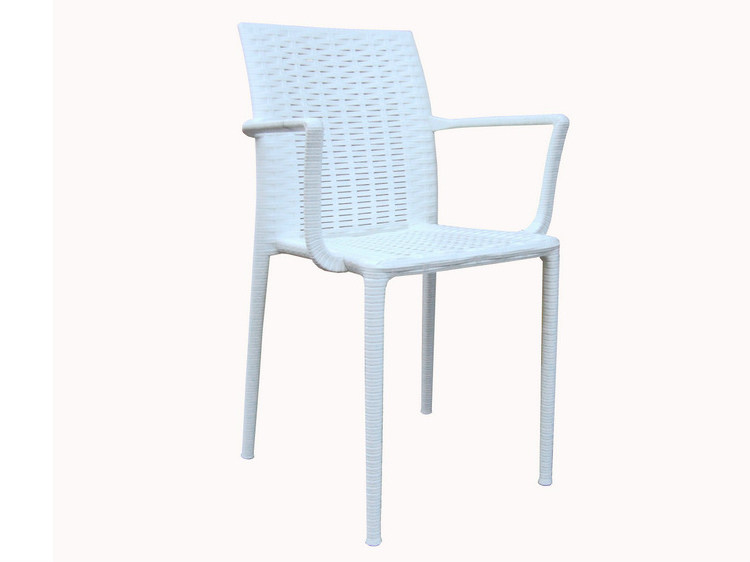 Stackable technopolymer chair with armrests TRACY B - GABER