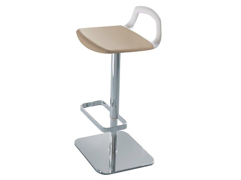 Height-adjustable upholstered technopolymer stool POP | Upholstered stool - GABER