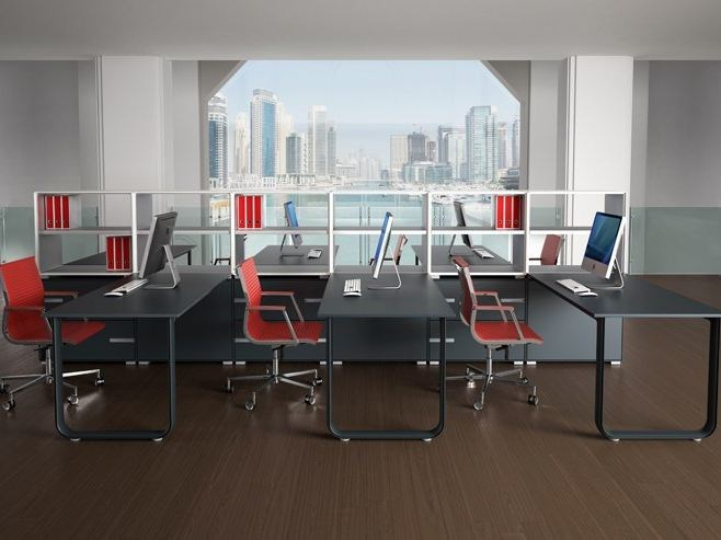 Sectional workstation desk ELLY | Sectional office desk - TECNITALIA