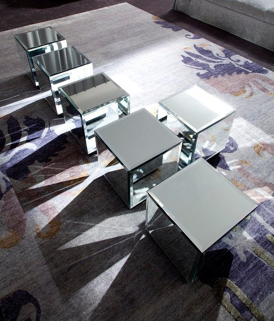 Low Square Mirrored Coffee Table: Low Square Mirrored Glass Coffee Table RIFLESSO By ERBA