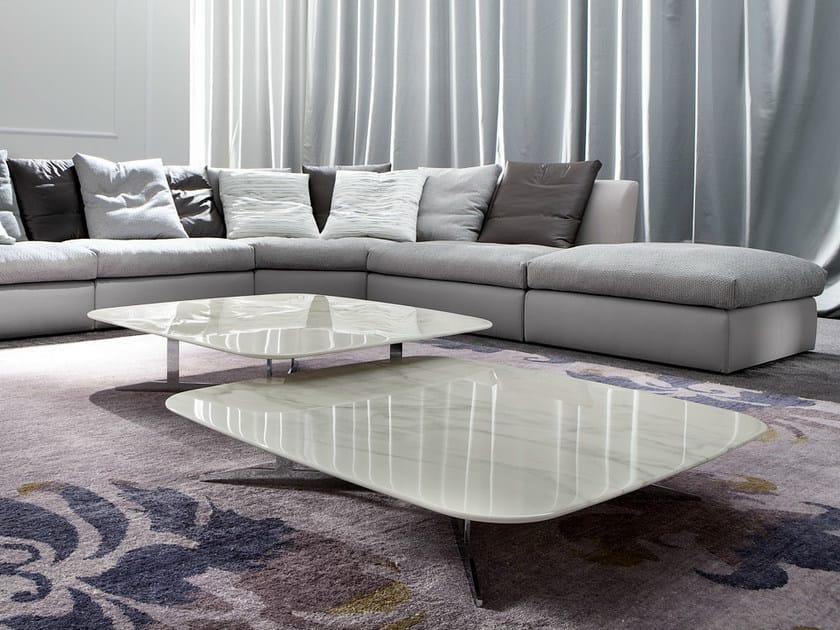 Tavolino basso rettangolare in marmo da salotto NORD - ERBA ITALIA