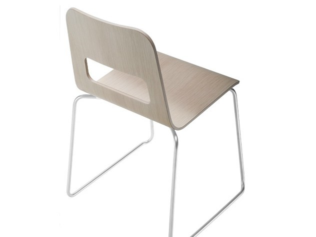 Sled base stackable multi-layer wood chair HOLE | Chair - Lapalma