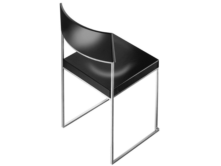Sled base stackable wooden chair CUBA by Lapalma