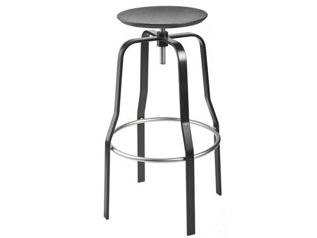 Height-adjustable steel and wood stool GIRO - Lapalma