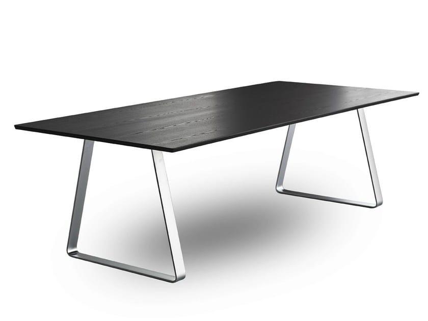 Rectangular multi-layer wood meeting table MUTKA by Lapalma