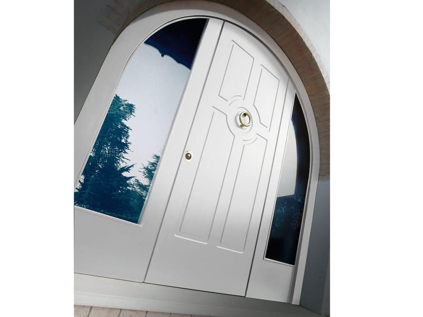 Porta d 39 ingresso blindata in mdf ad arco con pannelli in for Porta ingresso vetro