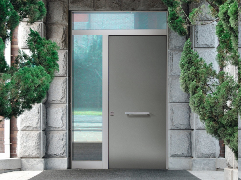 Porta d 39 ingresso blindata con pannelli in vetro elite m60vip bauxt - Portoncini blindati da esterno con vetro ...