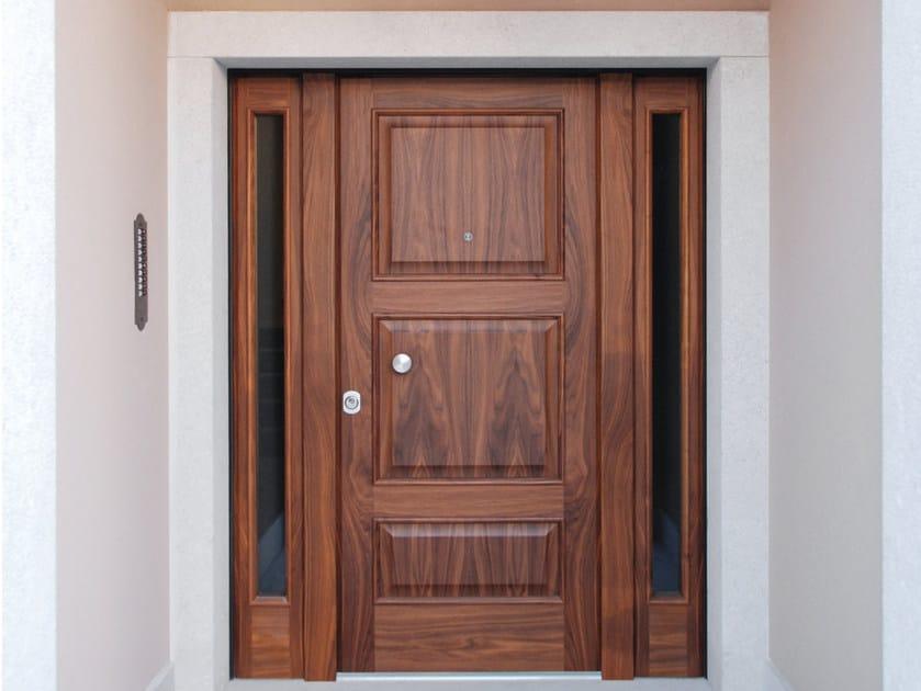 Porta d 39 ingresso blindata in noce con pannelli in vetro for Porta ingresso vetro