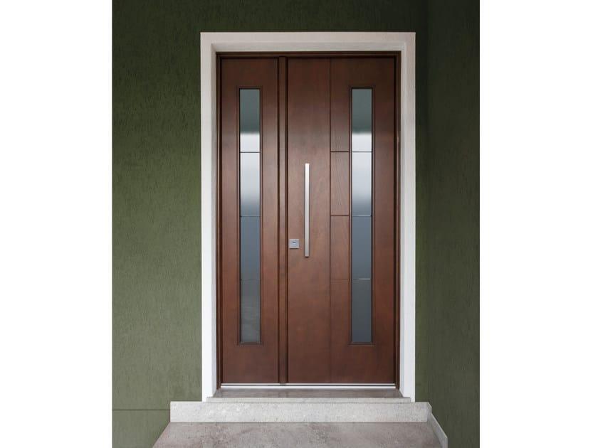 Porta d 39 ingresso blindata in okoum con pannelli in vetro - Porte da ingresso prezzi ...