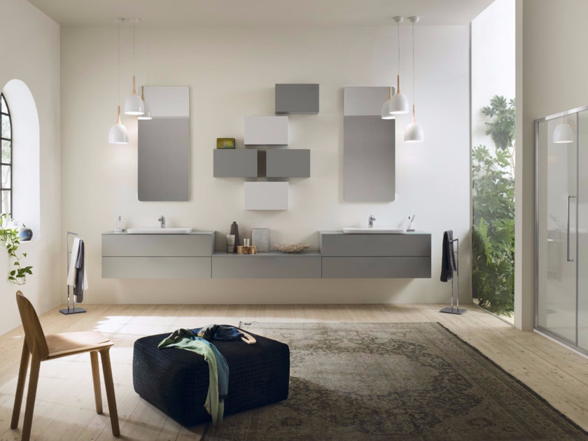 Sectional bathroom cabinet PROGETTO - Composition 5 - INDA®