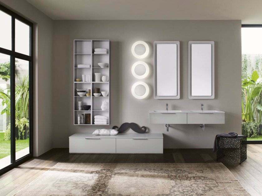 Sectional bathroom cabinet PROGETTO - Composition 6 by INDA®