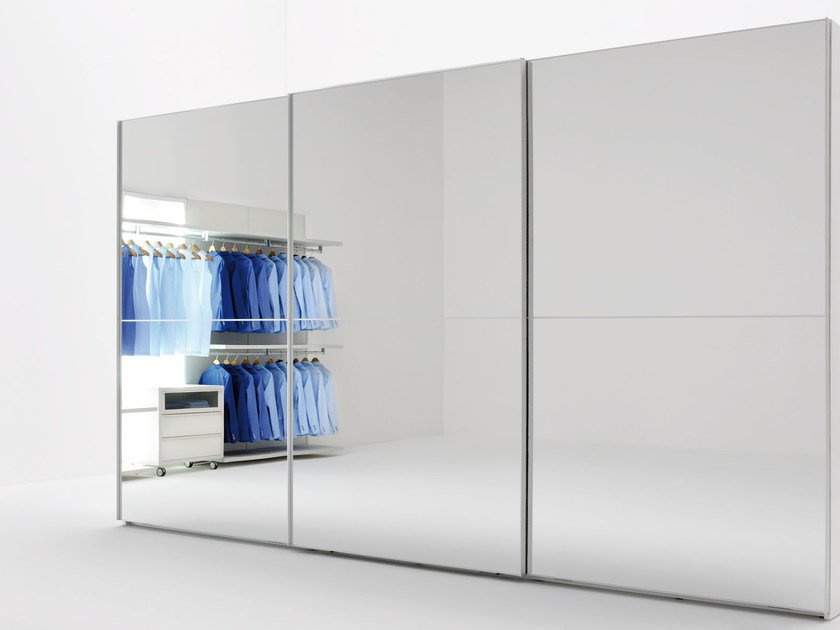 Wardrobe with sliding doors PROGETTO STELO | Mirrored wardrobe by Silenia