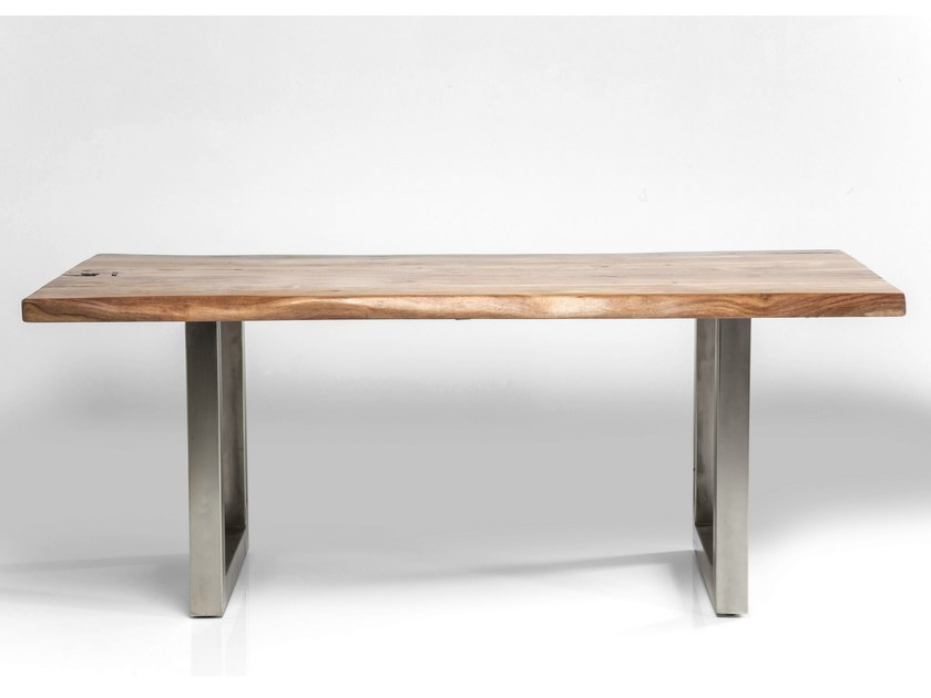 Rectangular steel and wood table PURE NATURE by KARE-DESIGN