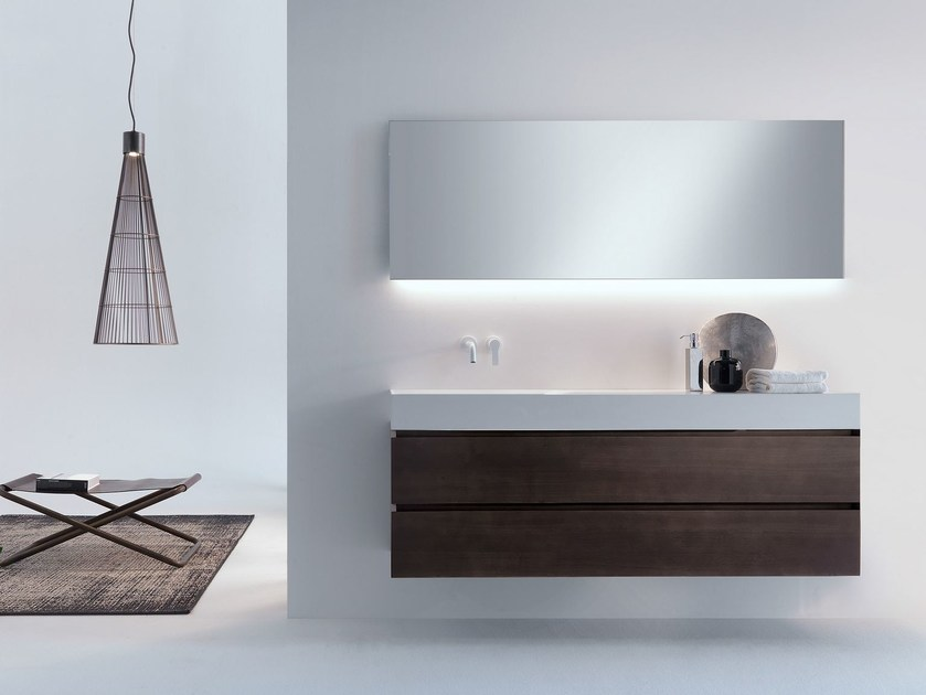 Wall-mounted wooden vanity unit with drawers PURE | Wooden vanity unit by FALPER
