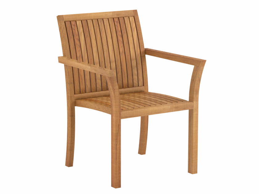 Teak garden chair with armrests PURIZ | Chair with armrests by ROYAL BOTANIA