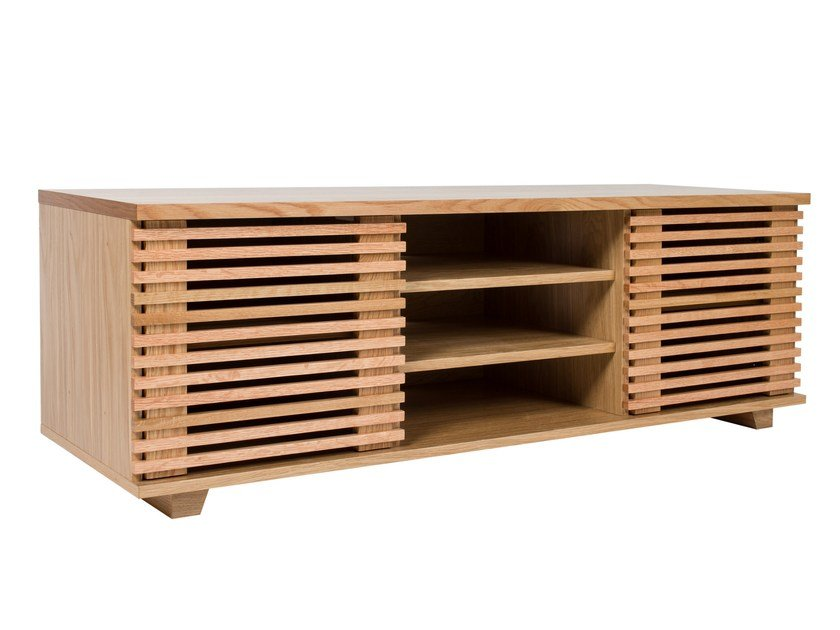 Wooden TV cabinet with shelves PUTNEY | TV cabinet - Woodman