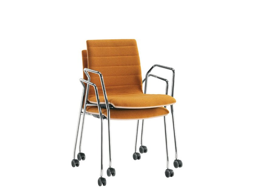 Stackable chair with casters Q-2 | Chair with casters - Sesta