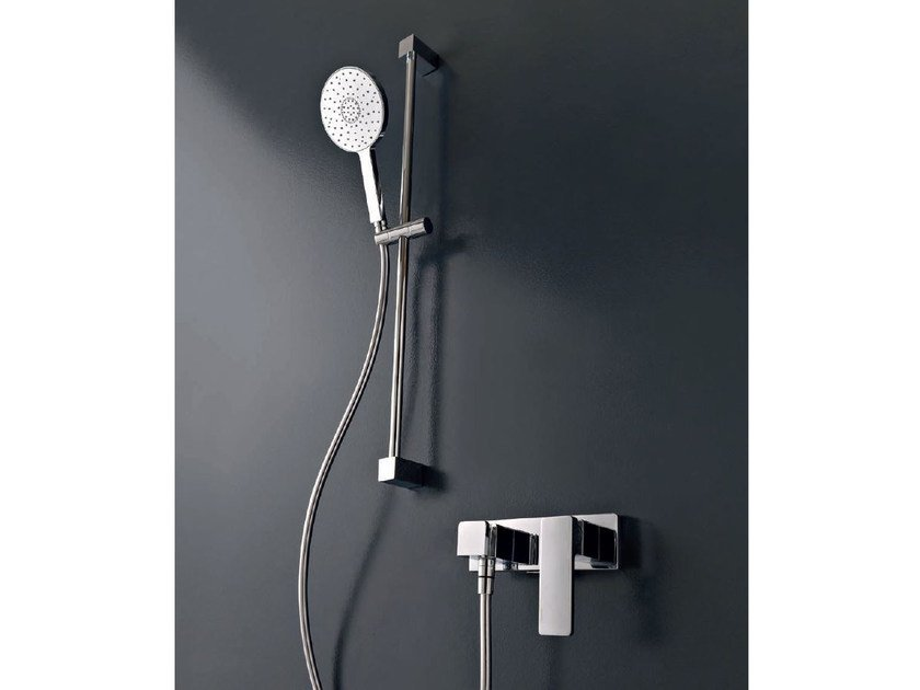 Chrome-plated shower wallbar with hand shower QQUADRO by ZAZZERI