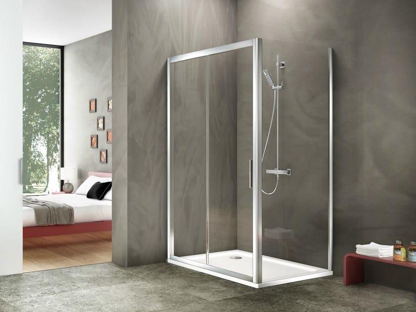 Box doccia angolare rettangolare in alluminio e vetro for Duka cabine doccia