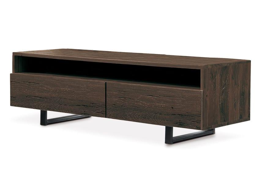 Low oak TV cabinet QUADRA | TV cabinet - Oliver B.