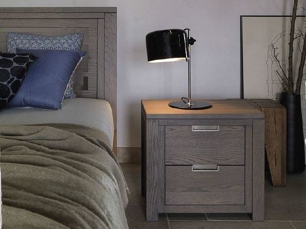 Solid wood bedside table with drawers QUADRA | Bedside table - Devina Nais