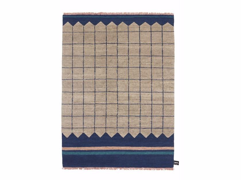 Tappeto fatto a mano in lana a motivi geometrici QUADRO CELESTE #1 - cc-tapis ®
