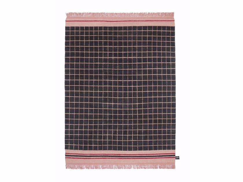 Tappeto fatto a mano in lana a motivi geometrici QUADRO CELESTE #1105 - cc-tapis ®