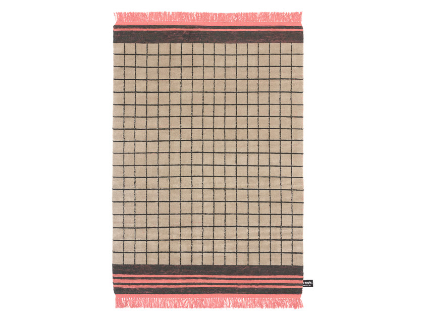 Handmade wool rug with geometric shapes QUADRO CELESTE #15 by cc-tapis ®
