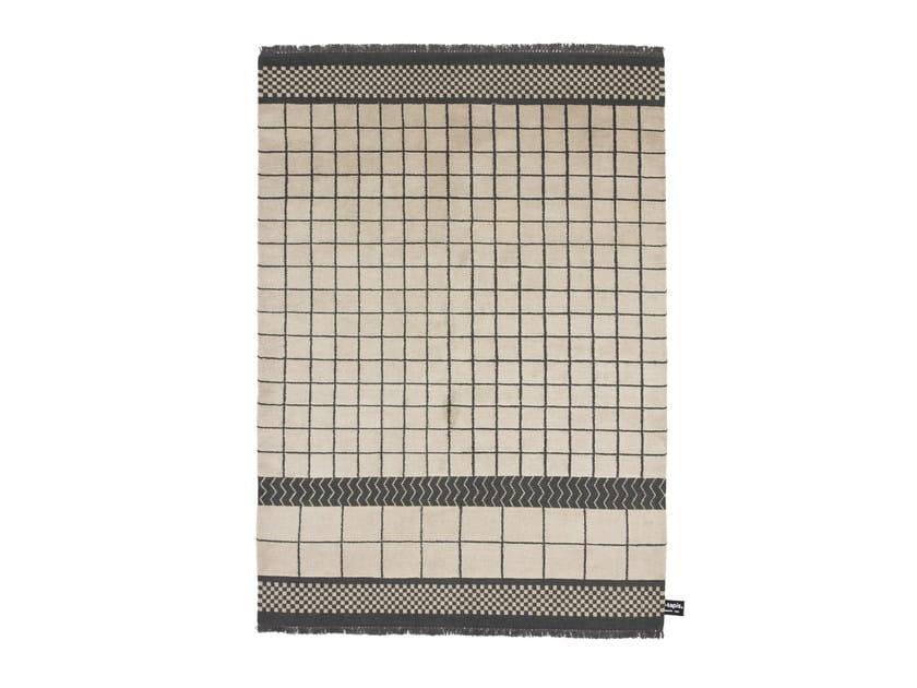 Tappeto fatto a mano in lana a motivi geometrici QUADRO CELESTE #260 - cc-tapis ®