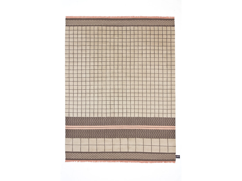 Handmade wool rug with geometric shapes QUADRO CELESTE #34 - cc-tapis ®