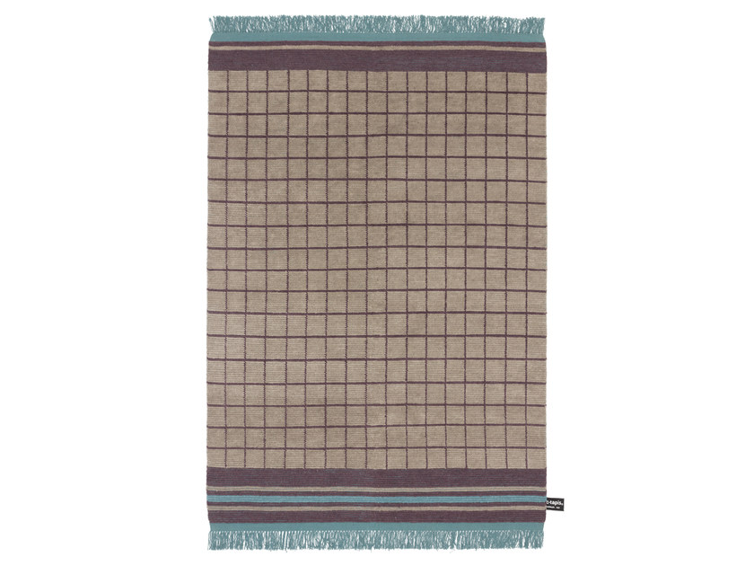 Handmade wool rug with geometric shapes QUADRO CELESTE #5 - cc-tapis ®