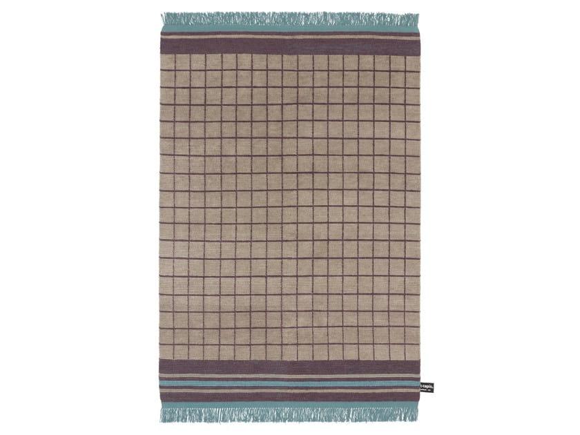 Tappeto fatto a mano in lana a motivi geometrici QUADRO CELESTE #5 - cc-tapis ®