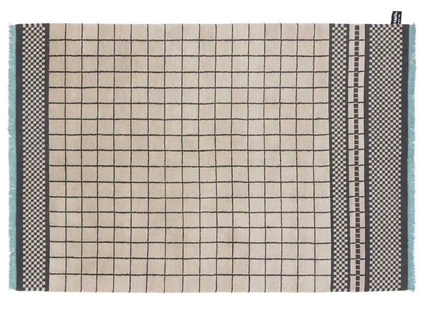 Tappeto fatto a mano in lana a motivi geometrici QUADRO CELESTE #870 - cc-tapis ®