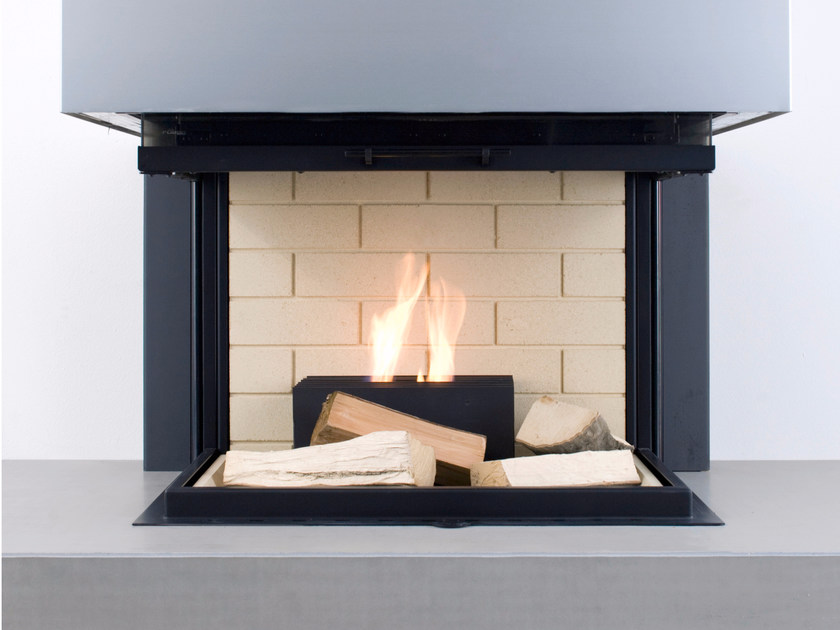 Open bioethanol powder coated steel fireplace QUADRO - conmoto by Lions at Work