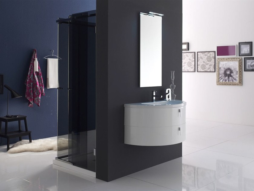 Lacquered single vanity unit QUANTUM - COMPOSITION 4 - Arcom
