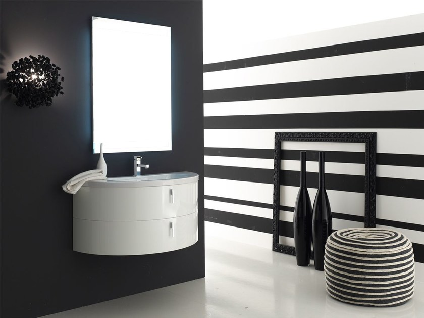 Lacquered single vanity unit QUANTUM - COMPOSITION 5 - Arcom