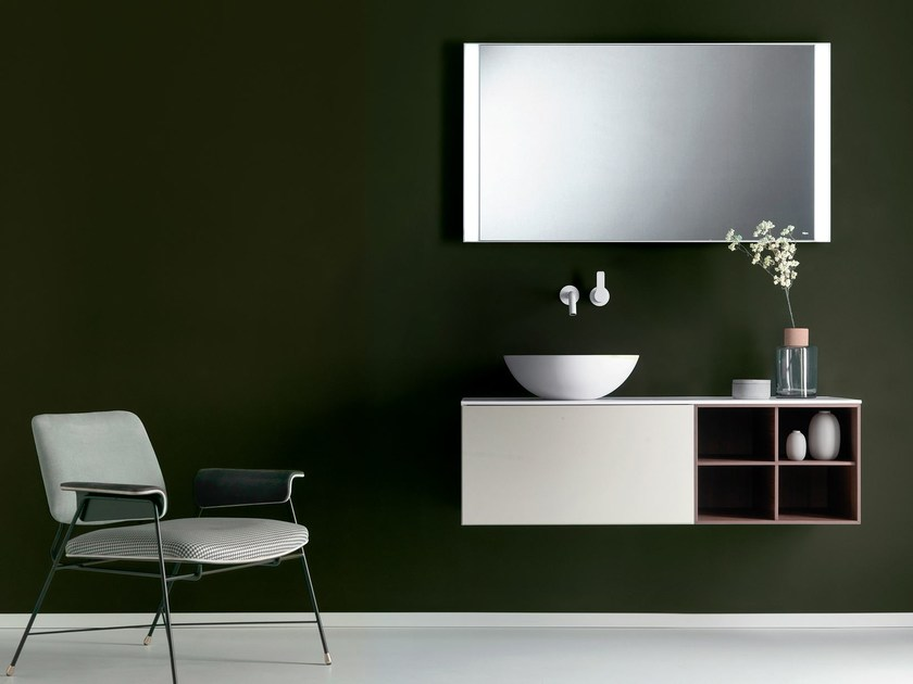 Wall-mounted wooden vanity unit with drawers QUATTRO.ZERO | Vanity unit by FALPER