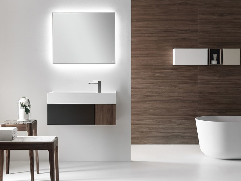 Wall-mounted wooden vanity unit with drawers QUATTRO.ZERO | Wall-mounted vanity unit by FALPER