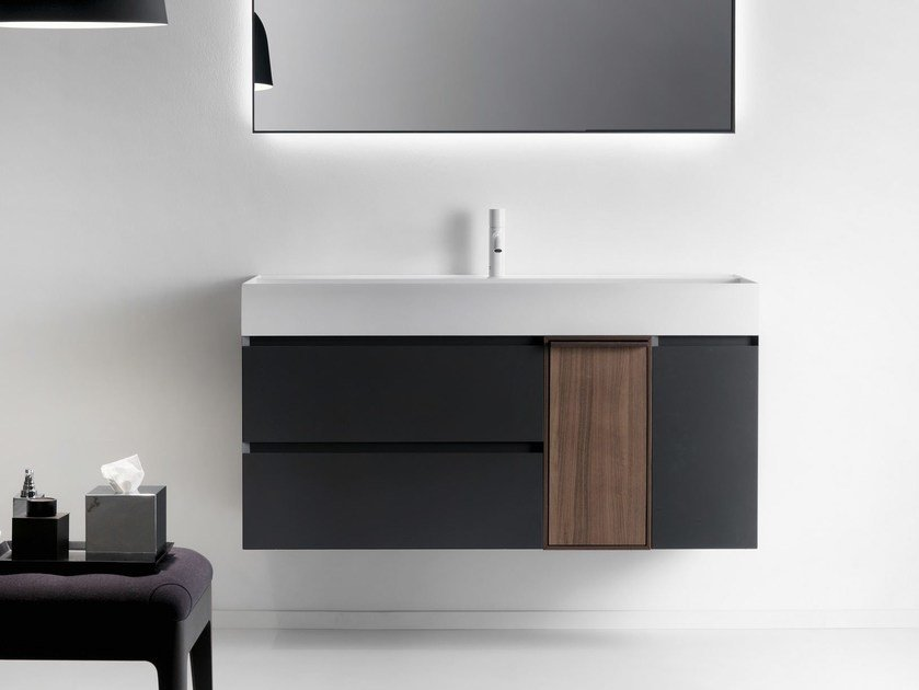Wall-mounted wooden vanity unit with drawers QUATTRO.ZERO | Wooden vanity unit by FALPER