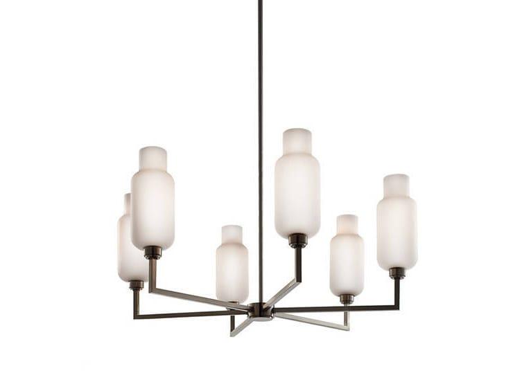 Lampadario a luce diretta in vetro soffiato QUILL 6 - Niche Modern
