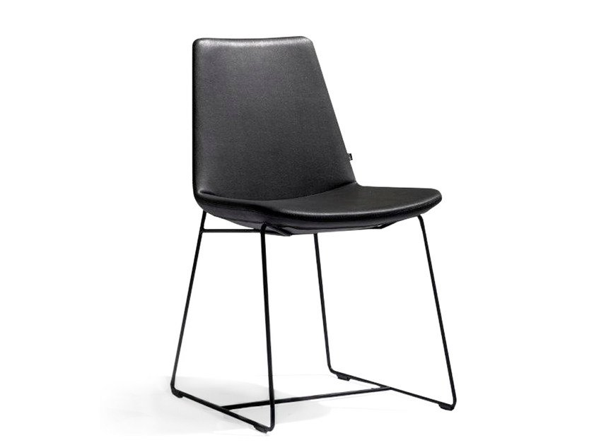 Sled base upholstered imitation leather chair RAFAËL | Sled base chair - Joli