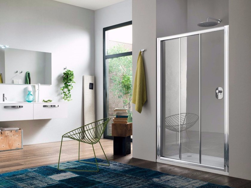 Niche glass shower cabin with sliding door RAPID - 3 - INDA®