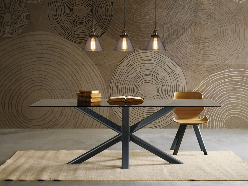 Rectangular wood and glass table RAY | Wood and glass table by Natisa